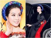 MC Thanh Mai mặc áo dài, ngồi xế sang đến dự tiệc đón Tổng thống Pháp