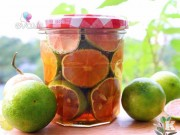 Bếp Eva - Cách ngâm chanh đào mật ong trị ho lúc giao mùa