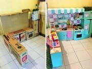 """Bà mẹ """"xây"""" cho con căn bếp mọi bé gái ao ước chỉ với bìa các-tông"""
