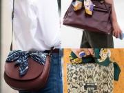 """Thời trang - """"Lên đời"""" cho chiếc túi xách chỉ bằng một chiếc khăn"""