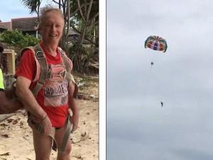 Vợ quay cảnh chồng chơi trò dù bay trên biển, không ngờ sau đó là cảnh tượng kinh hoàng