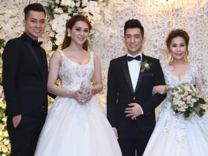 Lâm Khánh Chi và chồng sắp cưới dự hôn lễ lần 3 của chồng cũ Phi Thanh Vân