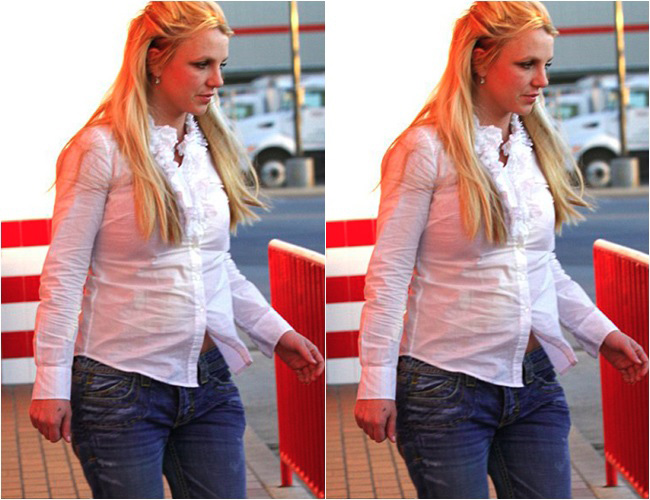 Britney Spears với hình ảnh vòng 2 to và ngấn mỡ, nữ hoàng nhạc Pop 'xấu xí' đi rất nhiều khi tăng cân quá đà thế này.