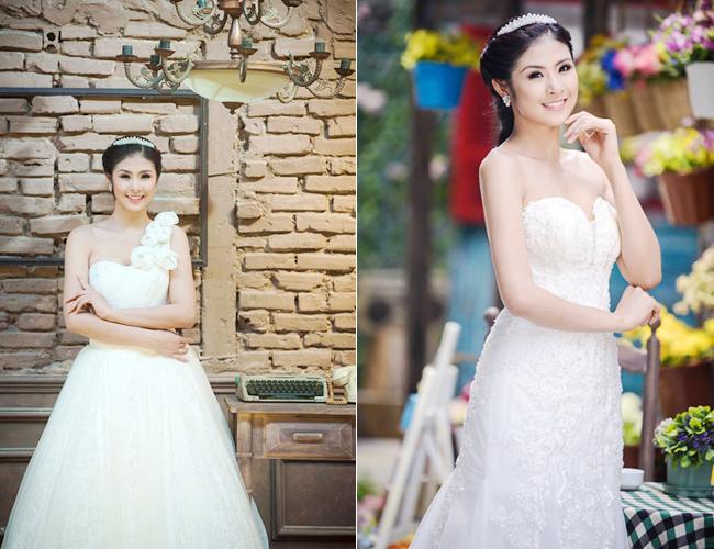 Trung thành với hình ảnh ngoan hiền, trong sáng, HH Ngọc Hân vừa thực hiện bộ ảnh cưới đẹp nền nã, lãng mạn và nhẹ nhàng.