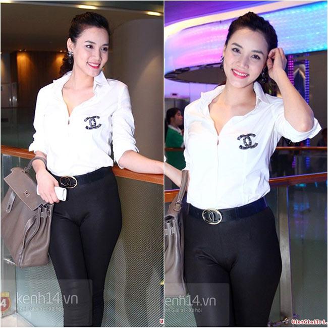 Mặc dù đã từng có rất nhiều người đẹp mắc lỗi vì diện quần quá bó sát nhưng người đẹp Trang Nhung mới đây vẫn dẫm vào 'vết xe đổ.