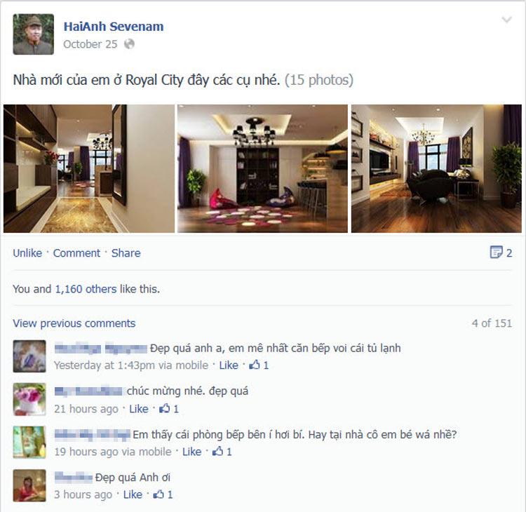 Nhắc đến nam diễn viên Hải Anh, khán giả truyền hình sẽ nhớ ngay đến hình ảnh của anh qua các vai diễn phản diện hay vai diễn hài đầy hóm hỉnh. Ít ai biết rằng ngoài đời Hải Anh còn là một doanh nhân khá thành đạt. Anh là chủ sở hữu của chuỗi showroom thời trang có tiếng ở Hà Nội và nhiều thành phố lân cận.  Mới đây, Hải Anh đã 'khoe' hình ảnh căn hộ chung cư sang trọng mới tậu ở Royal City trên trang Facebook cá nhân. Nam diễn viên còn chia sẻ một cách hài hước rằng: 'Nhà mới của em ở Royal City đây các cụ nhé'.