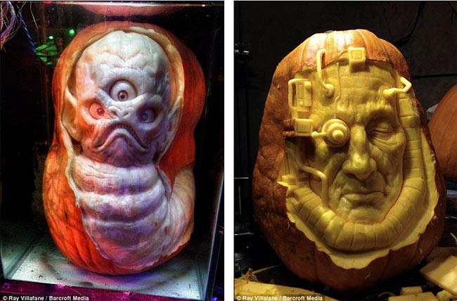 Nhà điêu khắc Ray Villafane đã tạo ra những quả bí ngô mang mặt quỷ ghê rợn như vừa bước ra từ các bộ phim kinh dị.