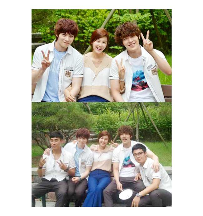 Kim Ha Neul bên hai bạn diễn Kim Woo Bin và Jong Hyun (CNBlue) là học sinh của cô trong phim.