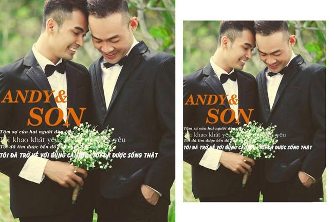 Gần đây nhất, tháng 8/2013, cặp đôi Andy Nguyễn và Hải Sơn đã 'tung ra' một bộ ảnh cưới đẹp 'mĩ mãn' gây sốt trong cộng đồng mạng.