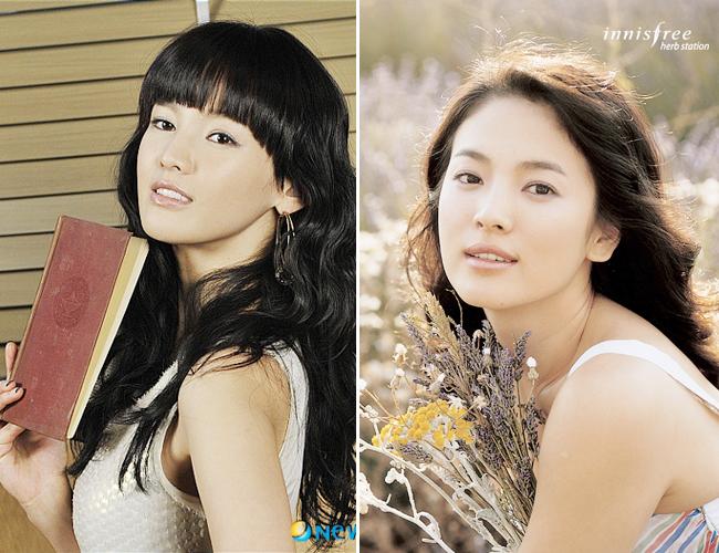 """Từ một cô gái vô danh, Jeong Ga Eun bỗng trở nên nổi tiếng khi được đem ra so sánh với nữ diễn viên Song Hye Kyo trong chương trình """"Star King"""". Jeong Ga Eun có nét mặt """"hao hao"""" với nữ diễn viên có gương mặt """"mộc"""" đẹp nhất xứ Hàn."""