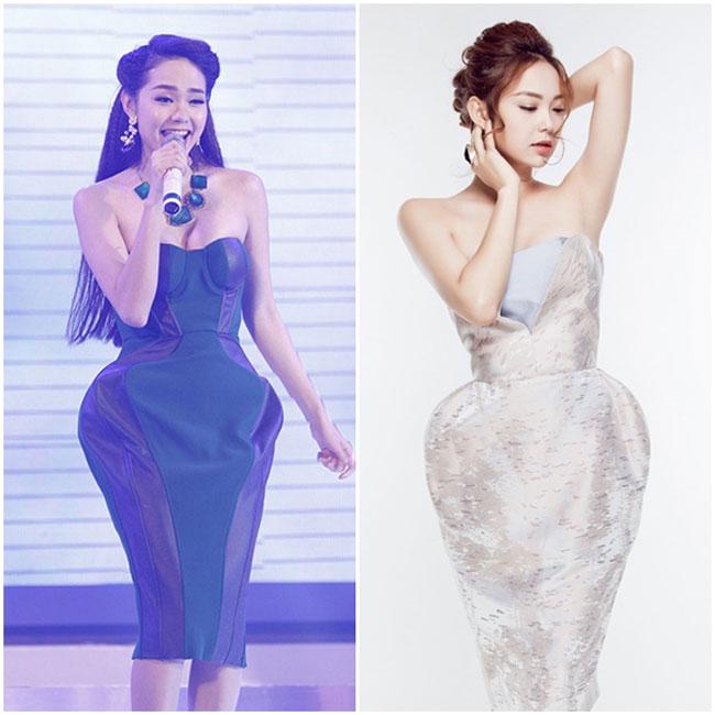 Ca sĩ Minh Hằng với những mẫu váy độn hông khoe vóc dáng yêu kiều.