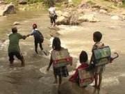 Tin tức - Ớn lạnh nhìn trẻ lội suối đến trường mùa nước lớn