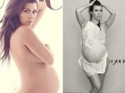 Mang thai 6-9 tháng - Chị gái Kim Kardashian tự tin khoe ảnh nude bầu