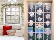 10 phút làm rèm cửa bông tuyết tinh khôi đón Giáng Sinh
