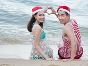 Ảnh đẹp Eva - MC Nguyên Khang đón Noel cực lãng mạn ở bãi biển
