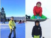 Làng sao - HH Hà Kiều Anh đưa hai con trai đi trượt tuyết