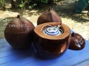 Chiếc vỏ bình trà bằng trái dừa quê nội