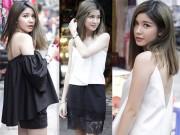 Thời trang - Hot girl Hà Nội khoe vai trần, mắt lúng liếng