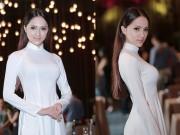Thời trang - Hương Giang Idol mượn áo dài khoe vòng 1 căng tràn