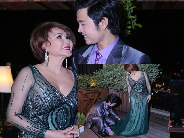Vũ Hoàng Việt chỉnh váy cho người yêu tỷ phú U60