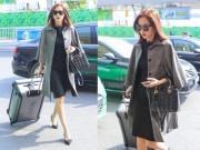 Thời trang - Hoa hậu Thu Thảo xách túi trăm triệu nổi bật ở sân bay