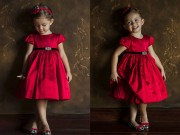 Thời trang - Con gái diva Hồng Nhung mặc váy đỏ cực xinh