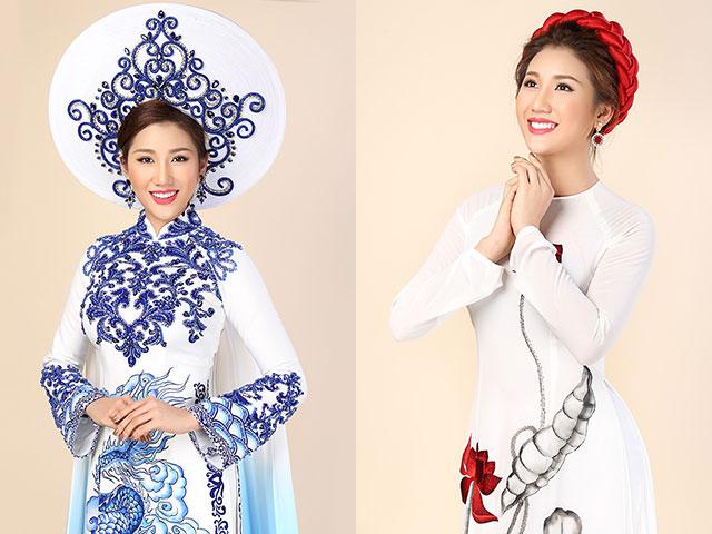 Bảo Như đẹp ngọt ngào với áo dài họa tiết gốm sứ