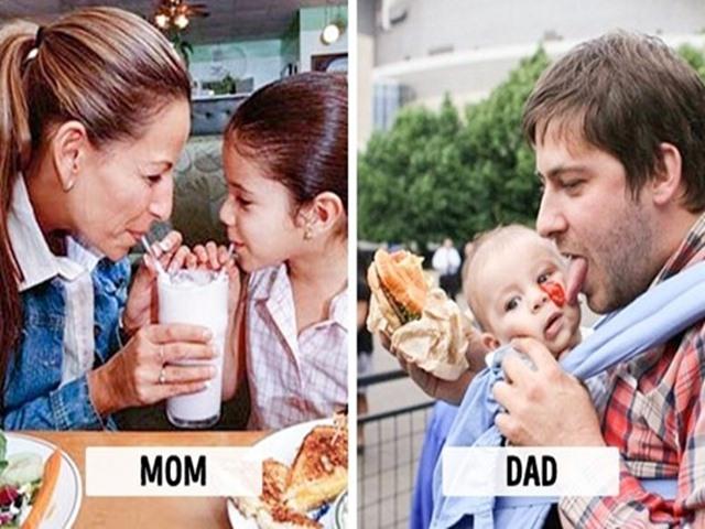 Loạt ảnh chứng minh sự khác nhau không thể chân thực hơn khi bố và mẹ chăm con