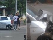 Hiệp Gà chở vợ mang thai đi bệnh viện gây tai nạn, ô tô móp đầu