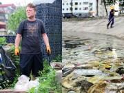 """Tin tức - Ông Tây lội mương dọn rác: """"Vứt bao cao su xuống hồ là tội ác"""""""