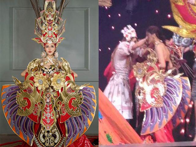 Vấp ngã đau, Khả Trang vẫn đạt giải trang phục dân tộc đẹp nhất tại HH Siêu Quốc gia 2016
