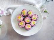 Ngon miệng, đã mắt với sushi cua màu tím vừa ngon vừa đẹp
