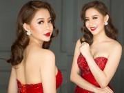 Thời trang - Hoa hậu Hải Dương lộng lẫy với đầm dạ hội đỏ rực