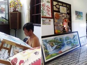 """Ông bố Việt thêu tranh nhanh đẹp hơn cả vợ và con gái khiến chị em """"ngả nón"""" bái phục"""