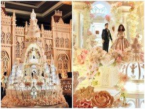 Bánh cưới cao 5m như tòa lâu đài lung linh khiến chính cô dâu, chú rể cũng choáng ngợp