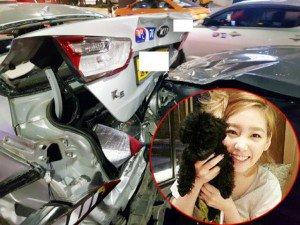 Sự thật thông tin trưởng nhóm SNSD Taeyeon ôm chó khi lái xe, gây tai nạn nghiêm trọng