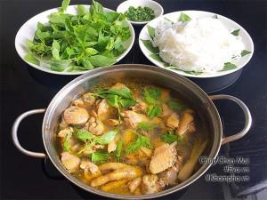 Lẩu gà lá é nóng hổi, đậm đà hương vị vùng đất Phú Yên