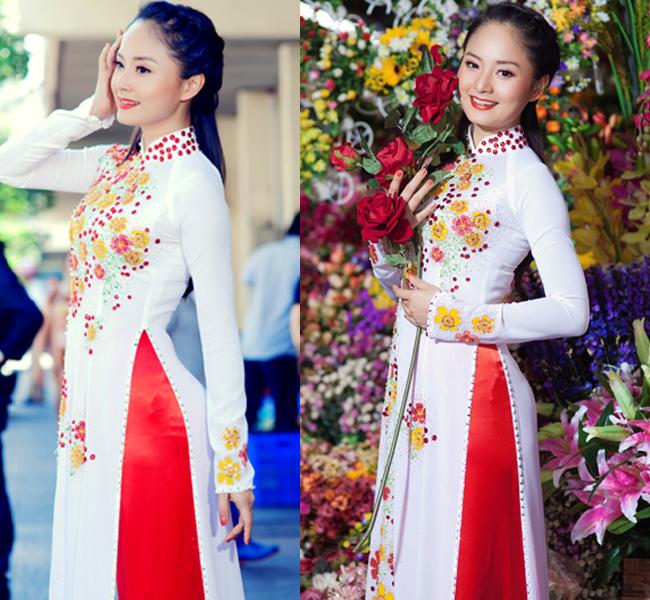 Diễn viên Lan Phương nổi bật nét đẹp hồn hậu với gương mặt bầu bĩnh, nụ cười hiền dịu. Tuy không sở hữu chiều cao lý tưởng nhưng cô vẫn rất cân đối trong tà áo dài.