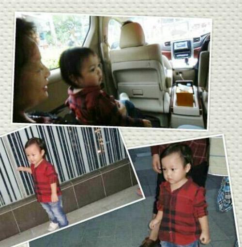 Hai bố con Huỳnh Tân mừng sinh nhật Triệu Vy-5
