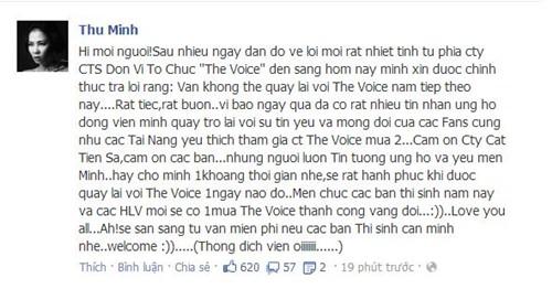 """thu minh chinh thuc roi """"ghe nong"""" the voice - 1"""