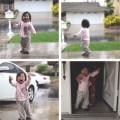 """Làm mẹ - Clip bé 1 tuổi nghịch mưa """"chao đảo"""" Internet"""