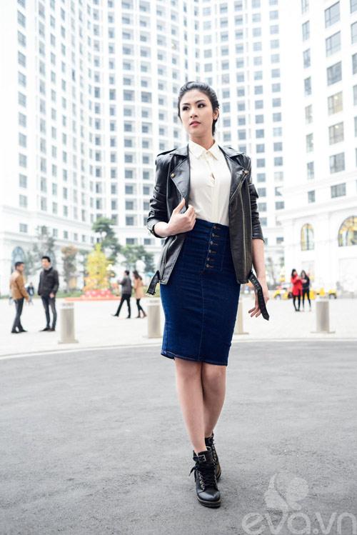 Xuống phố ngày lạnh, HH Việt chuộng áo da-2