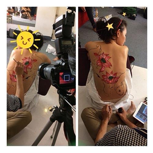 """phan nhu thao """"coi ao"""" lam nguoi mau body painting - 1"""