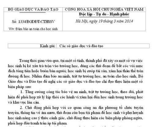 bo gd-dt canh bao nan bat coc trong truong hoc - 1