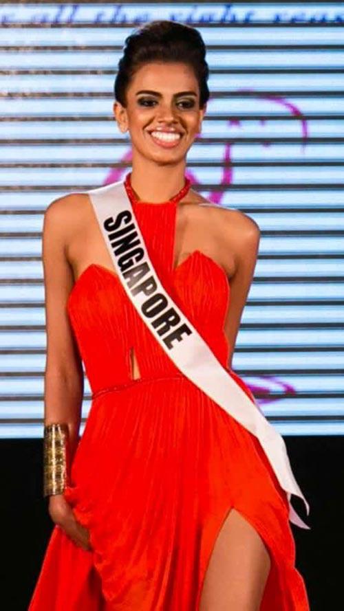 Hoa hậu Singapore mặc váy Việt Nam tại HH Hoàn vũ - 1