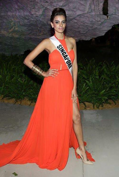 Hoa hậu Singapore mặc váy Việt Nam tại HH Hoàn vũ - 2