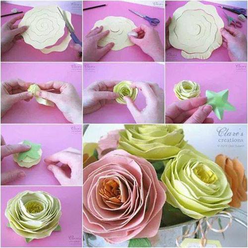 Rảnh tay 5 phút làm hoa giấy hút mắt cho bàn làm việc-6