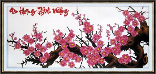Đuổi dữ hóa lành nhờ tranh thêu hoa đào-2