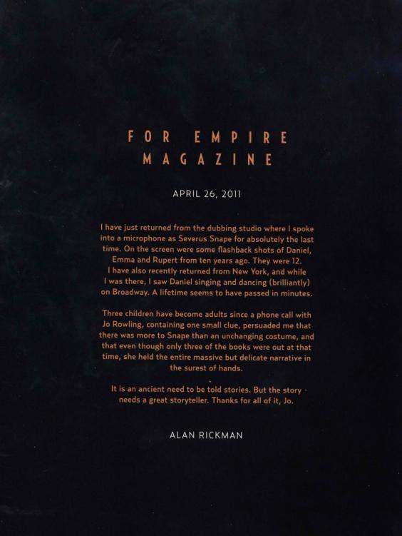 """Rớt nước mắt lá thư chia tay Harry Potter của """"Thầy Snape""""-3"""