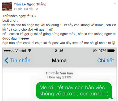 """ran ran"" trao luu nhan tin cho me ""tet nay con khong ve"" - 1"